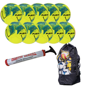Precision Fusion IMS Ten Pack with Ball Bag - Fluo Yellow - Sports Ball Warehouse