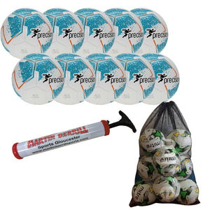Precision Fusion IMS Ten Pack with Mesh Ball Sack - Cyan - Sports Ball Warehouse