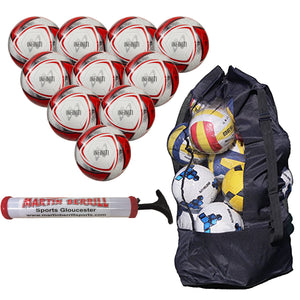 Samba Infiniti Training Ball Ten Pack with Ball Sack and Hand Pump (White/Red) - Sports Ball Warehouse