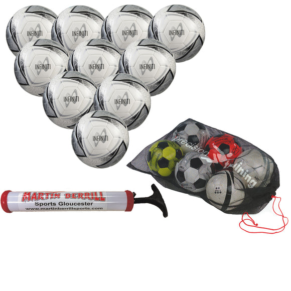 Samba Infiniti Training Ball Ten Pack with Mesh Ball Sack and Hand Pump (White/Silver) - Sports Ball Warehouse
