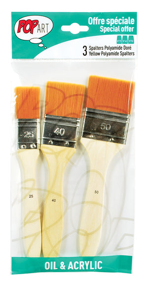 Pebeo Pop Art Spalter Brush Golden Polyamide Bristle Set of 3