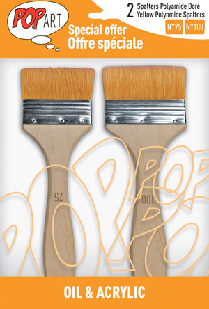 Pebeo Pop Art Spalter Brush Golden Polyamide Bristle Set of 2