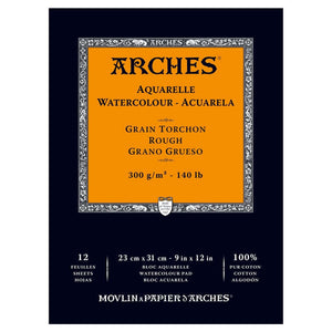"Arches Watercolour Pad - 140 lb. Rough - 9"" X 12"""