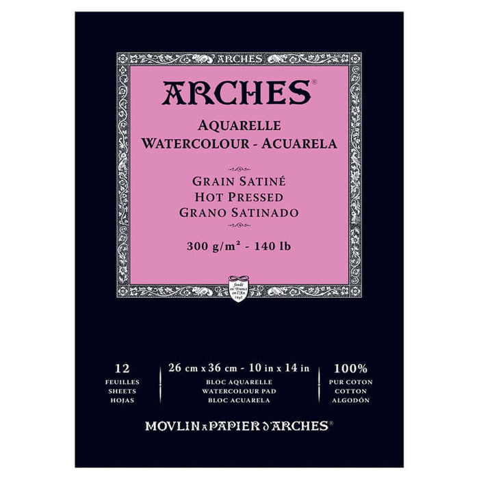 "Arches Watercolour Pad - 140 lb. Hot Press - 10"" X 14"""