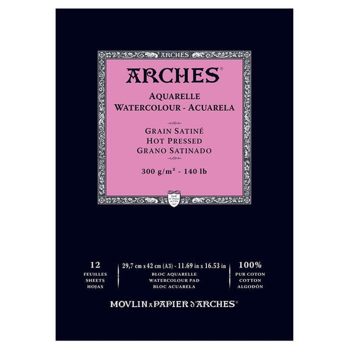 "Arches Watercolour Pad - 140 lb. Hot Press - 11.69"" X 16.53"""
