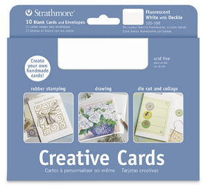 Strathmore Creative Cards - 20 pack - Flourescent White with Deckle