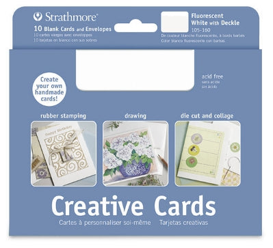 Strathmore Creative Cards - 10 pack - Flourescent White with Deckle