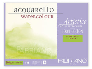 "Fabriano Artistico Watercolour Block - Extra White - Rough 12"" x 18"""