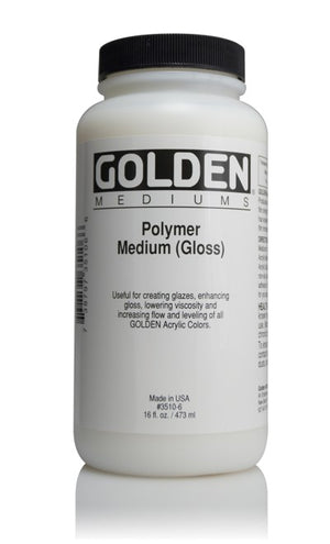 GOLDEN - 16 OZ. - POLYMER MEDIUM GLOSS