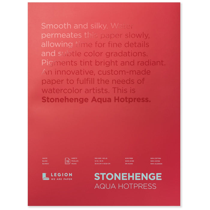 "Stonehenge Aqua Watercolour Block - Hot Press 140lb. - 10"" x 14"""
