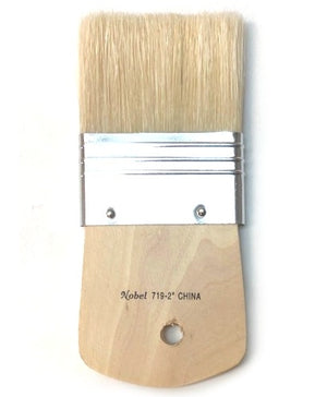 Nobel Series 719 Flat White Hog Bristle Brush - 2""