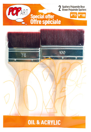 Pebeo Pop Art Spalter Brush Brown Polyamide Bristle Set of 2