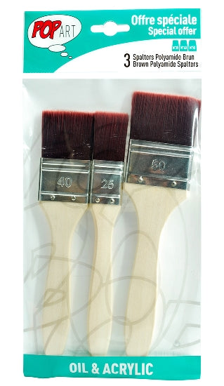 Pebeo Pop Art Spalter Brush Brown Polyamide Bristle Set of 3