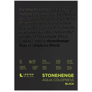 "Stonehenge Aqua Black Watercolour Block - Cold Press 140lb. - 10"" x 14"""