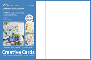 Strathmore Creative Cards - 50 pack - Flourescent White with Deckle