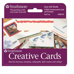 Strathmore Creative Cards - 10 pack - White with Red Deckle