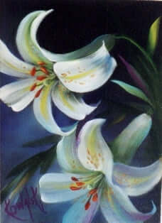 Bob Ross Floral Painting Packet - White Lilies with Border