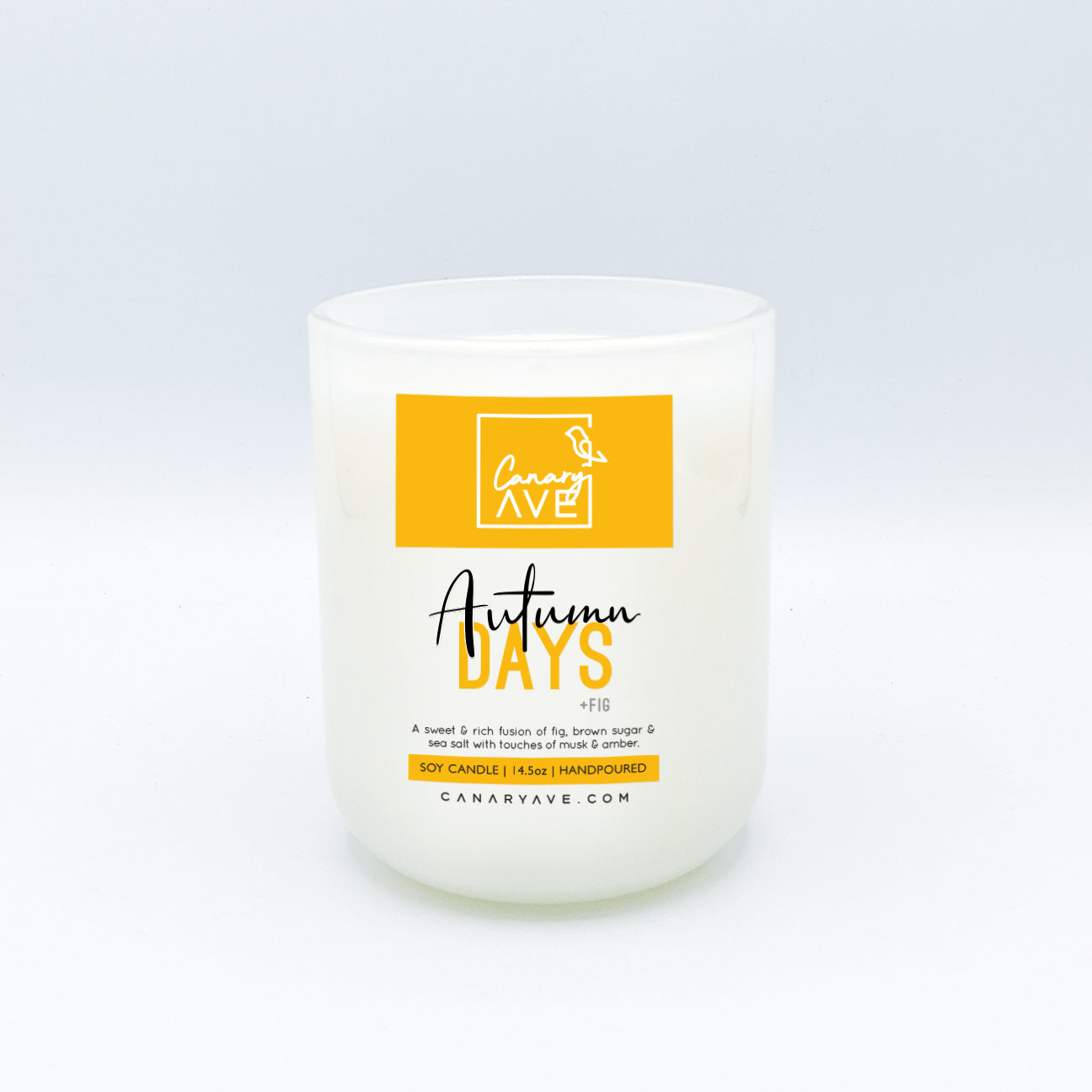 CanaryAve 14.5oz Autumn Days Candle - A sweet & rich fusion of fig, brown sugar & sea salt with touches of musk & amber.
