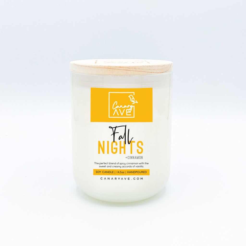 CanaryAve 14.5oz Fall Nights Candle - The perfect blend of spicy cinnamon with the sweet and creamy accords of vanilla.