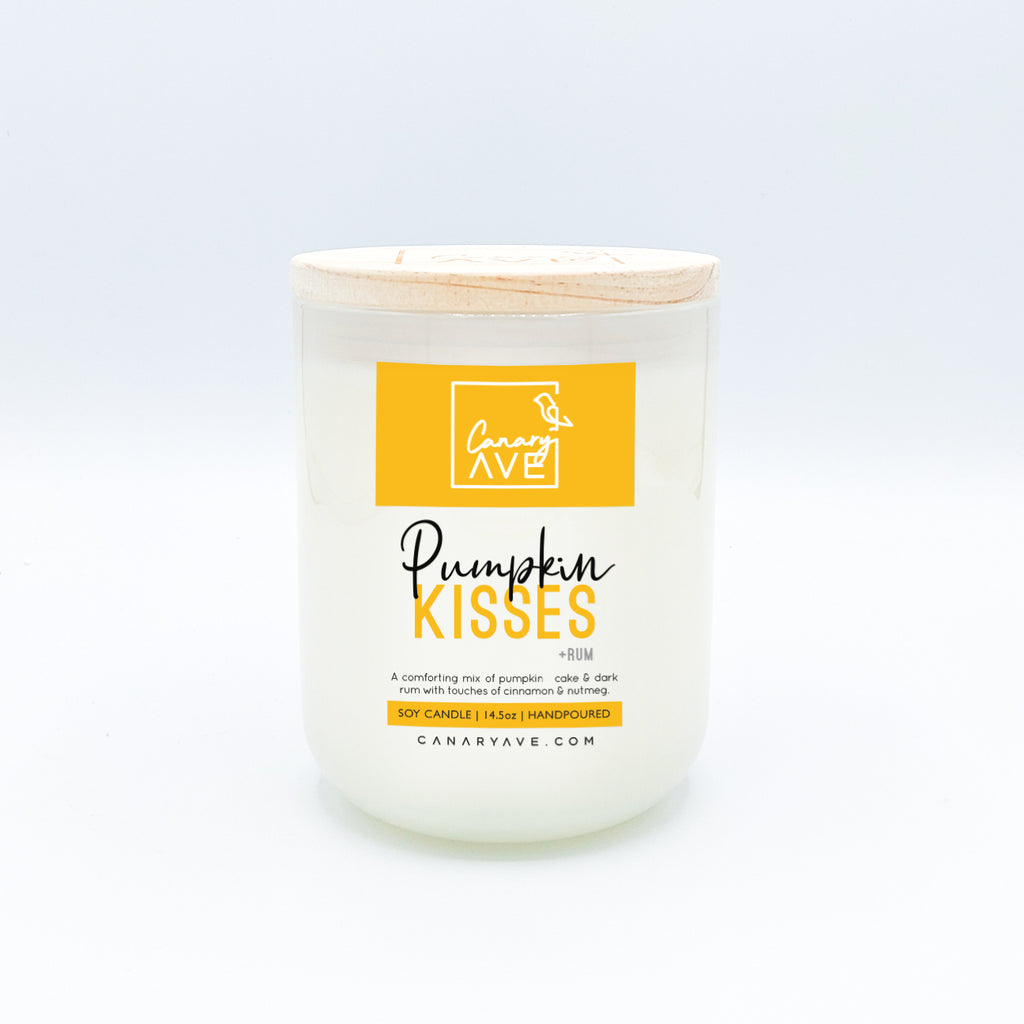 CanaryAve 14.5 oz Pumpkin Kisses Candle - A comforting mix of pumpkin cake & dark rum with touches of cinnamon & nutmeg.