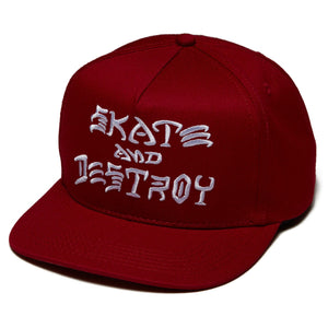 THRASHER SKATE AND DESTROY HAT RED