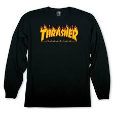 THRASHER FLAME LOGO LONG SLEEVE (BLACK)