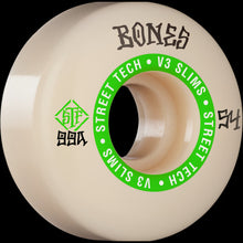 Load image into Gallery viewer, BONES WHEELS STF SKATEBOARD WHEELS NINETY-NINES 54MM V3 SLIMS 99A 4PK