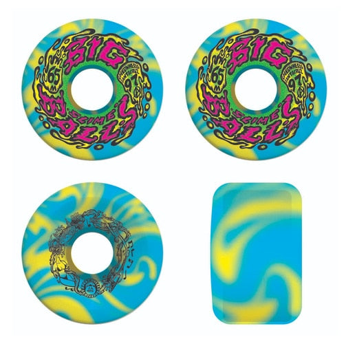 SLIME BALLS WHEELS 65MM  BIG BALLS BLUE / YELLOW SWIRL 97A