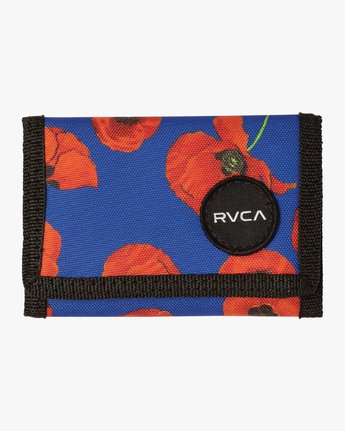 RVCA FLOWER PRINT TRIFOLD WALLET RED/BLUE
