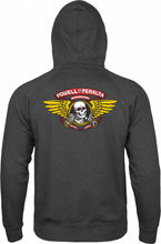 Load image into Gallery viewer, Powell Peralta Winged Ripper Hooded Zip Sweatshirt - Charcoal Heather