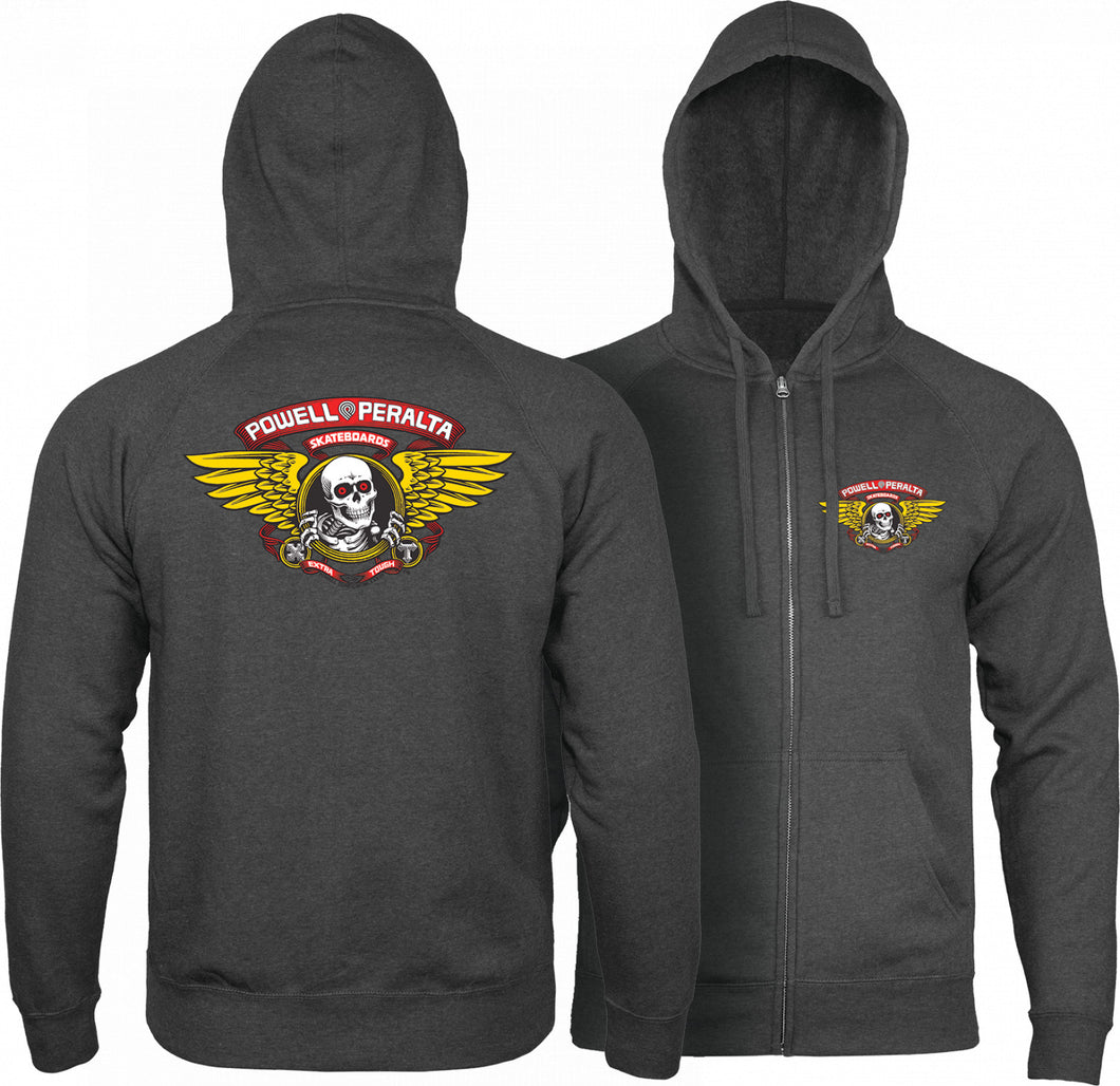 Powell Peralta Winged Ripper Hooded Zip Sweatshirt - Charcoal Heather