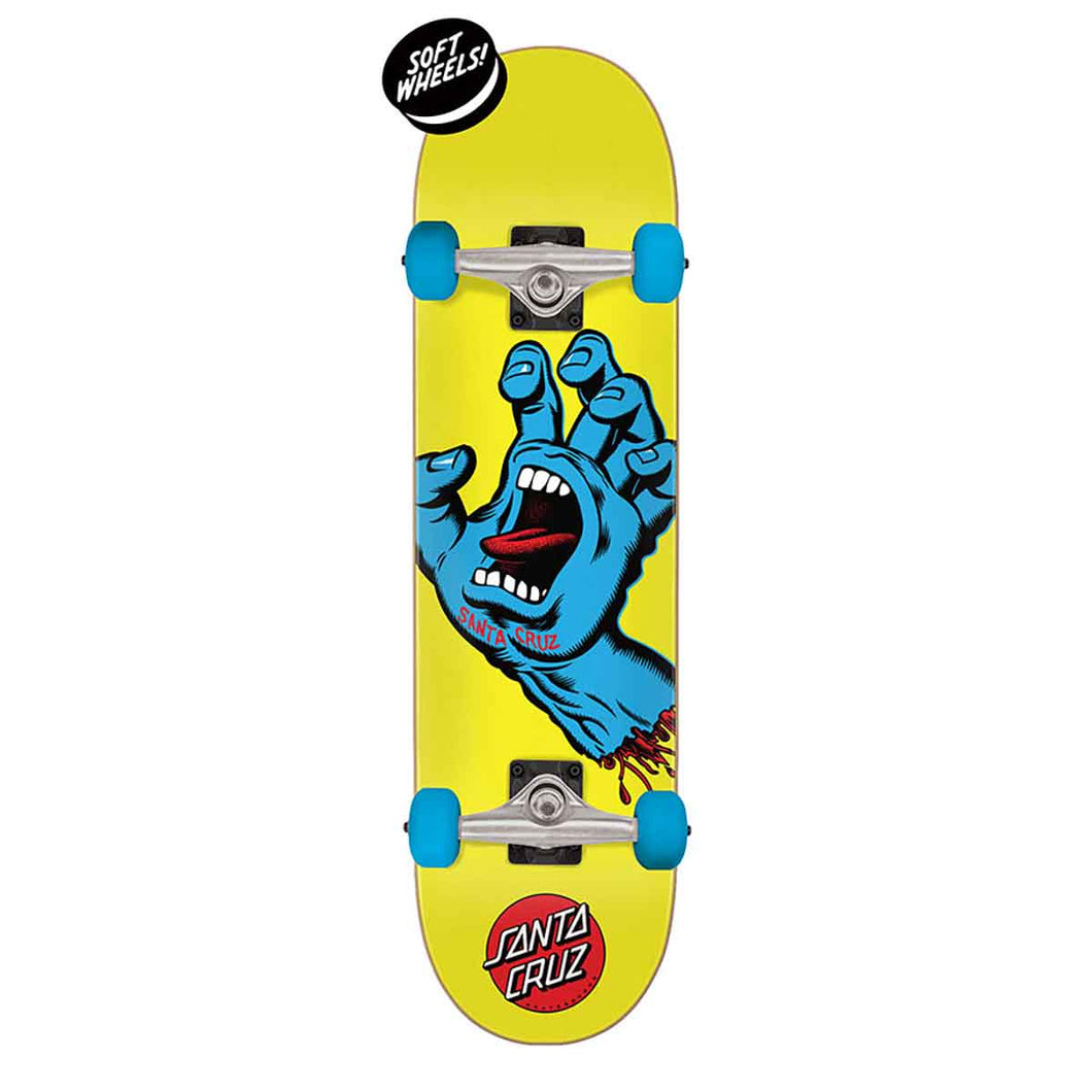 Santa Cruz Screaming Hand Mini Yellow Complete Skateboard - 7.75x30