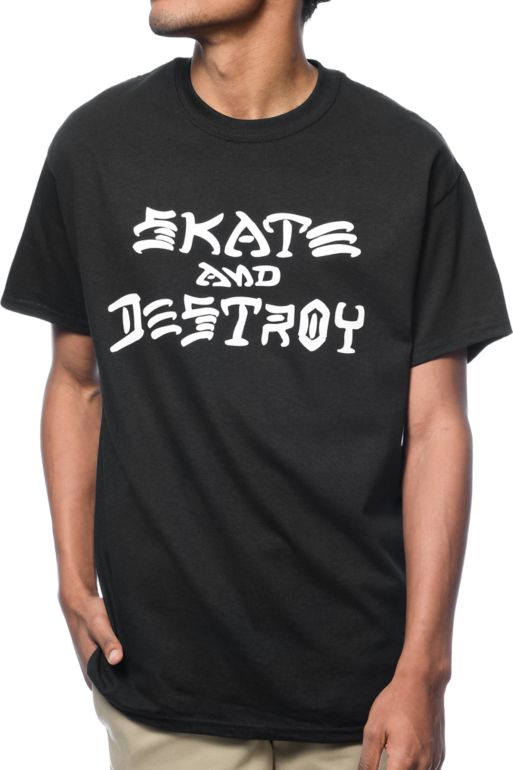 THRASHER SKATE AND DESTROY T-SHIRT BLACK