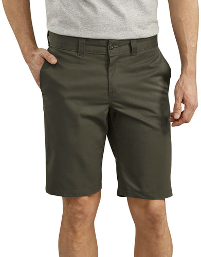 DICKIES '67 FLEX OLIVE GREEN WORK SHORTS
