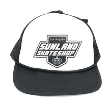 Load image into Gallery viewer, SUNLAND SKATE SHOP HAT BLACK/WHITE FOAM TRUCKER SNAPBACK