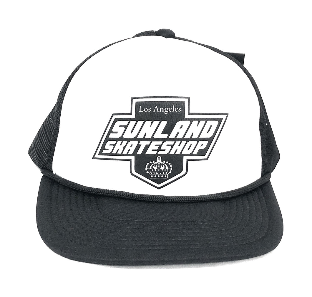 SUNLAND SKATE SHOP HAT BLACK/WHITE FOAM TRUCKER SNAPBACK