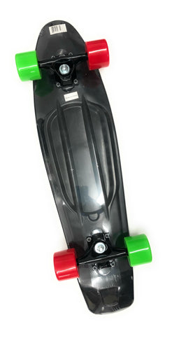 Rekon Banana Board Cruiser Complete Skateboard In Black/ Red&Green Wheels (22.5 X 6)