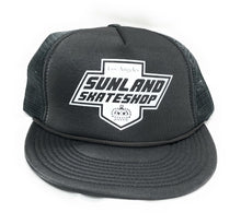 Load image into Gallery viewer, SUNLAND SKATE SHOP HAT GRAY FOAM TRUCKER SNAPBACK