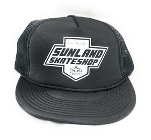 SUNLAND SKATE SHOP HAT GRAY FOAM TRUCKER SNAPBACK