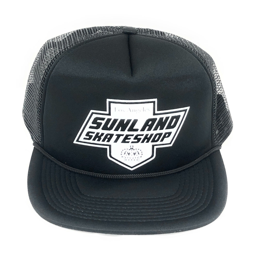 SUNLAND SKATE SHOP HAT BLACK FOAM TRUCKER SNAPBACK