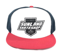 Load image into Gallery viewer, SUNLAND SKATE SHOP HAT RED/BLUE/WHITE SNAPBACK