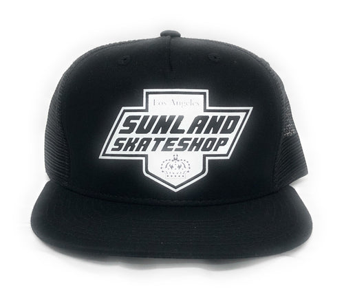 SUNLAND SKATE SHOP HAT BLACK TRUCKER SNAPBACK