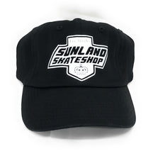 Load image into Gallery viewer, SUNLAND SKATE SHOP DAD HAT BLACK FITTED