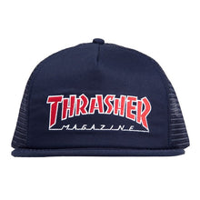 Load image into Gallery viewer, THRASHER SKATE MAG OUTLINE NAVY BLUE TRUCKER HAT SNAPBACK