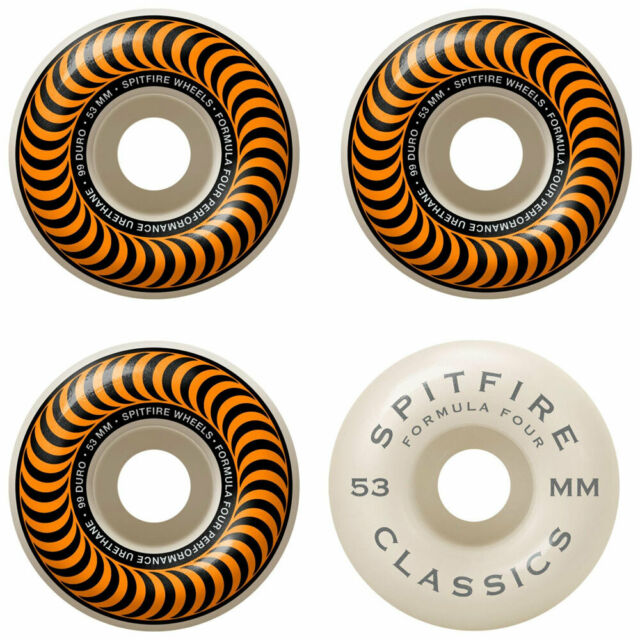 SPITFIRE CLASSIC SWIRL 53MM FORMULA 4 99A - WHITE W/ ORANGE