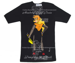"Mandolin Rain Bruin ""Dangerous in Black"" Black T-shirt"