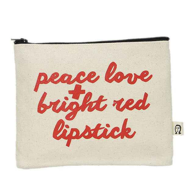 peace love and bright red lipstick pouch (ポーチ)