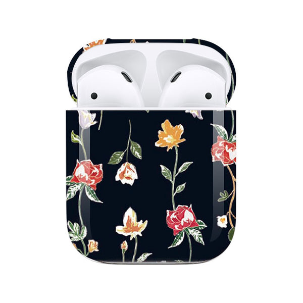 Retro flowers_Navy (AirPods case)