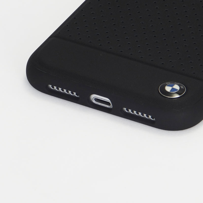 Perforated Leather TPU/PC case - Horizontal Smooth Leather - Black (ハード型スマホケース)