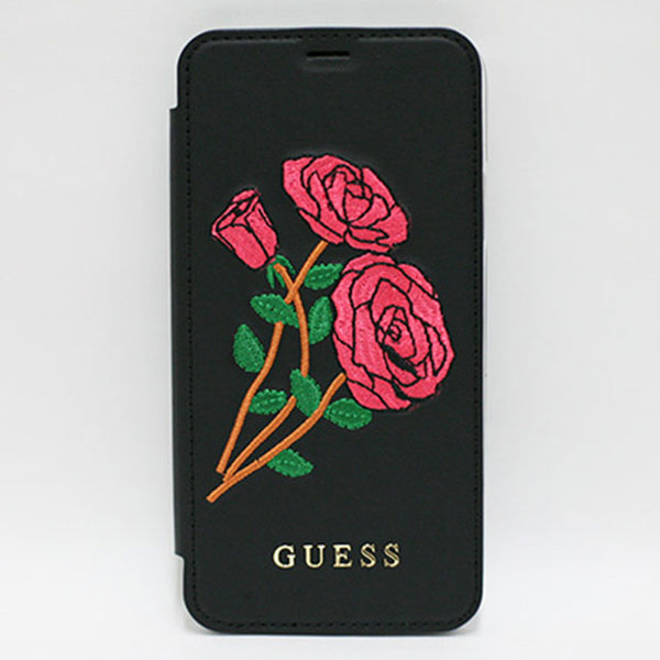 FLOWER DESIRE - PU LEATHER BOOKTYPE CASE WITH EMBROIDERED ROSES - BLACK iPhone X (ハード型スマホケース)